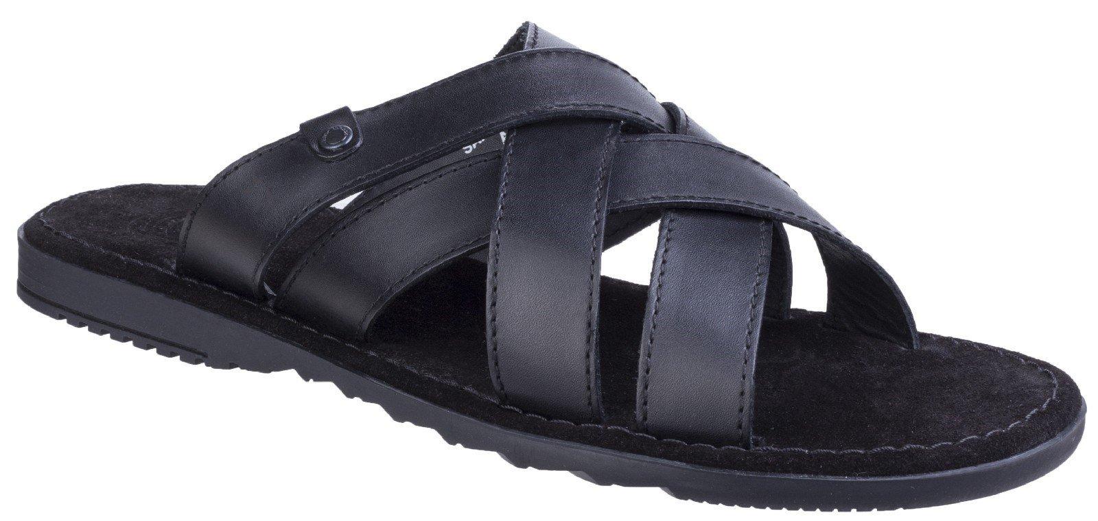 Base London Men's Apollo Waxy Leather Flip Flop Black 25152 - Black 6