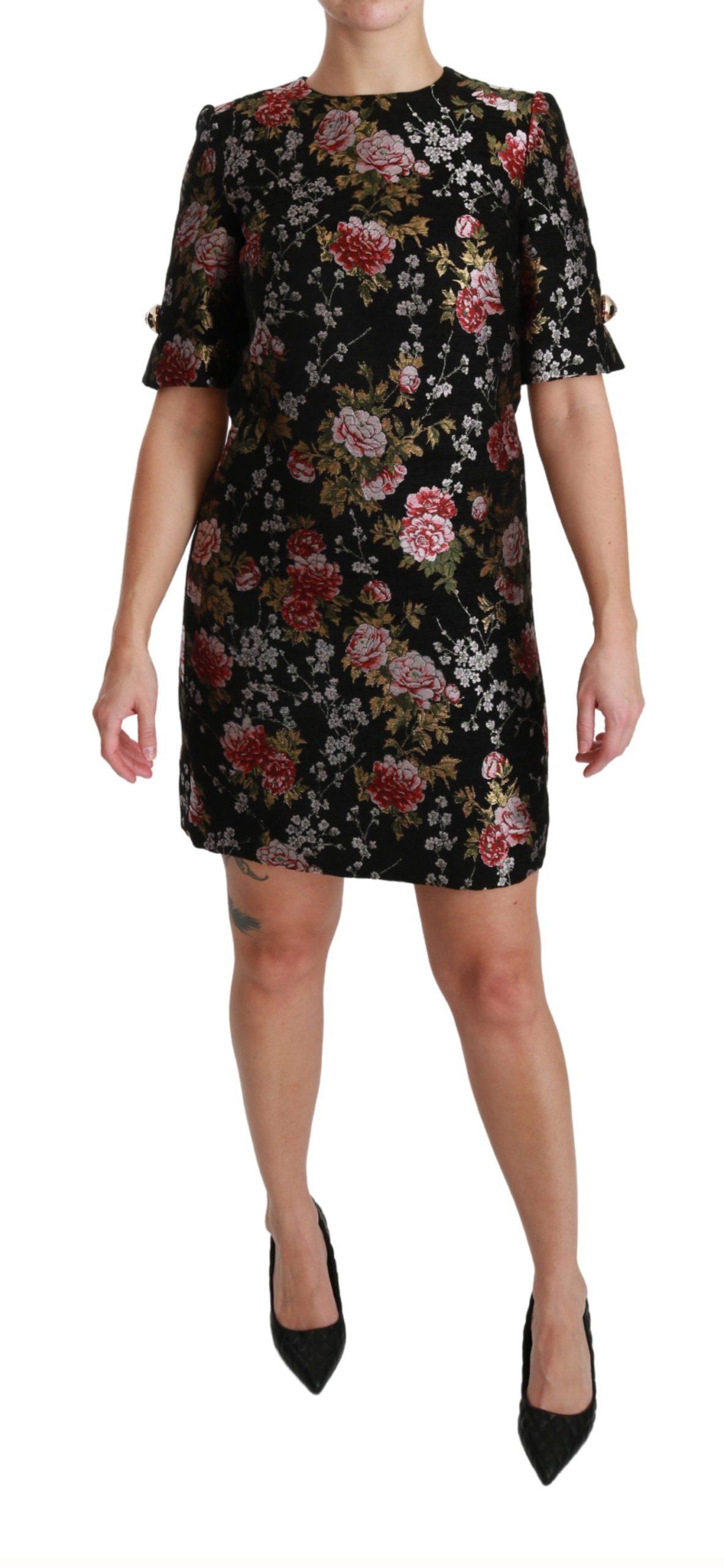 Dolce & Gabbana Women's Floral Brocade Sheath Mini Dress Black DR2527 - IT46|XL