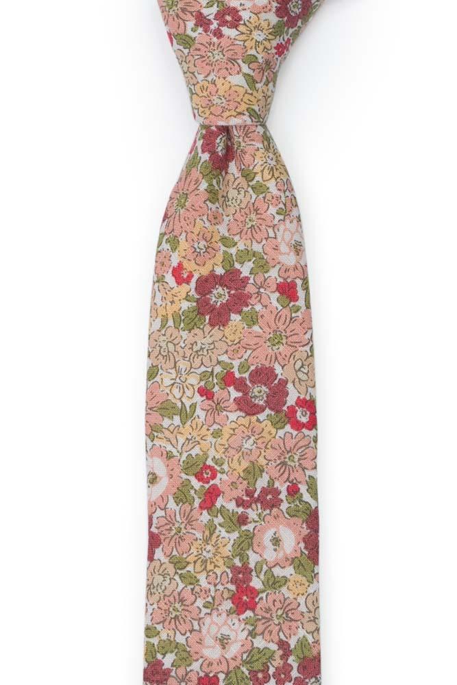 Bomull Smale Slips, Hvit base med rosa, beige, rosa & grønne blomster