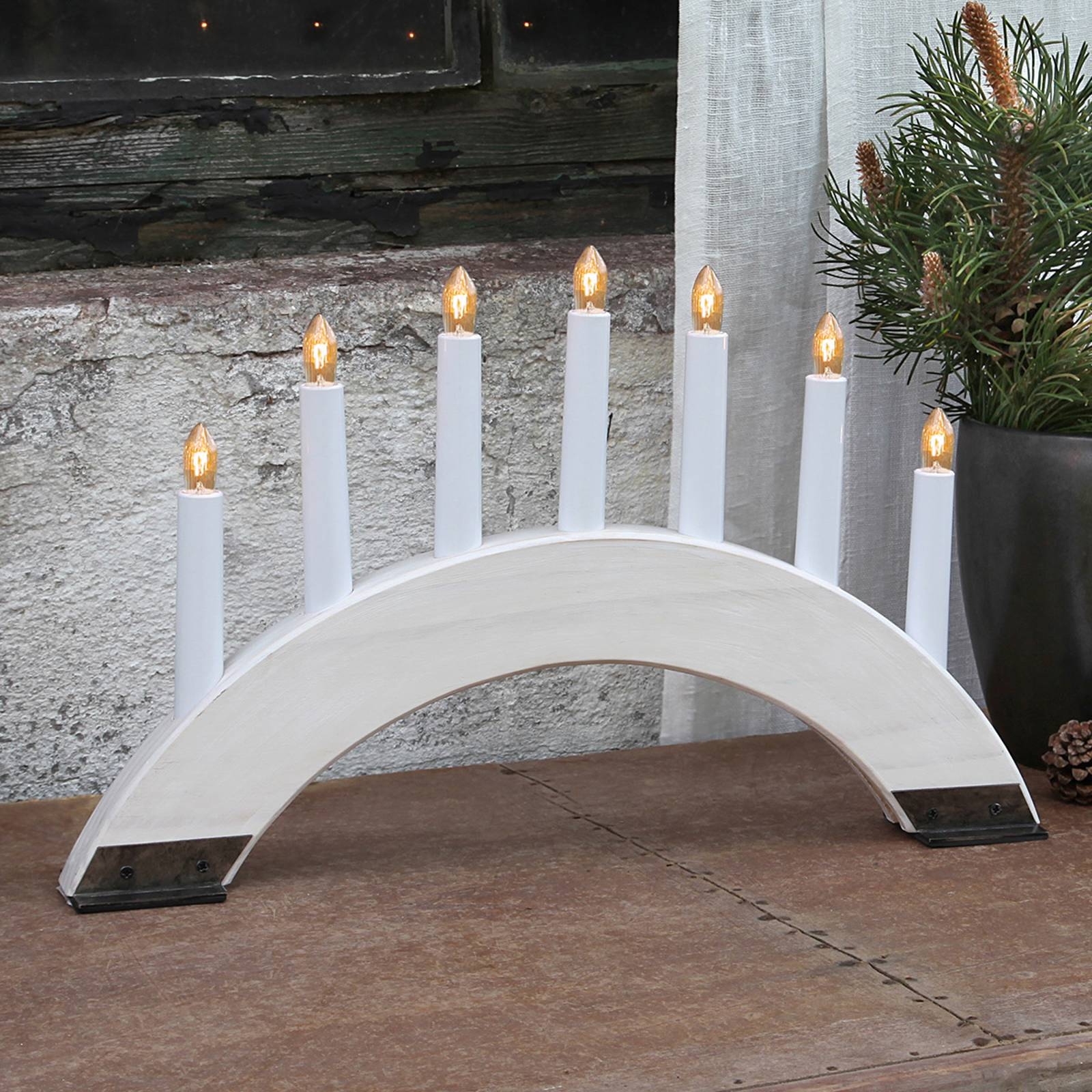 Valkoinen Viking Bow -kynttelikkö, 7-lamppuinen