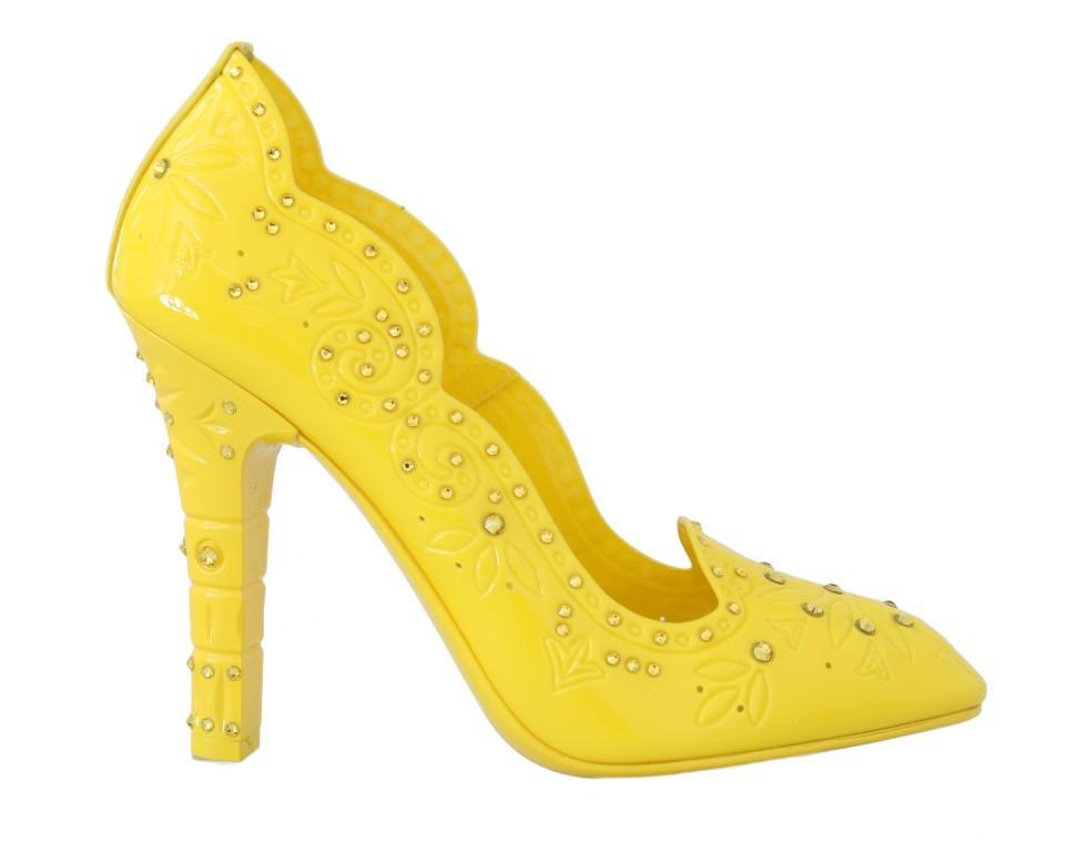 Dolce & Gabbana Women's CINDERELLA Crystal Pump Shoes Yellow LA4345 - EU37.5/US7