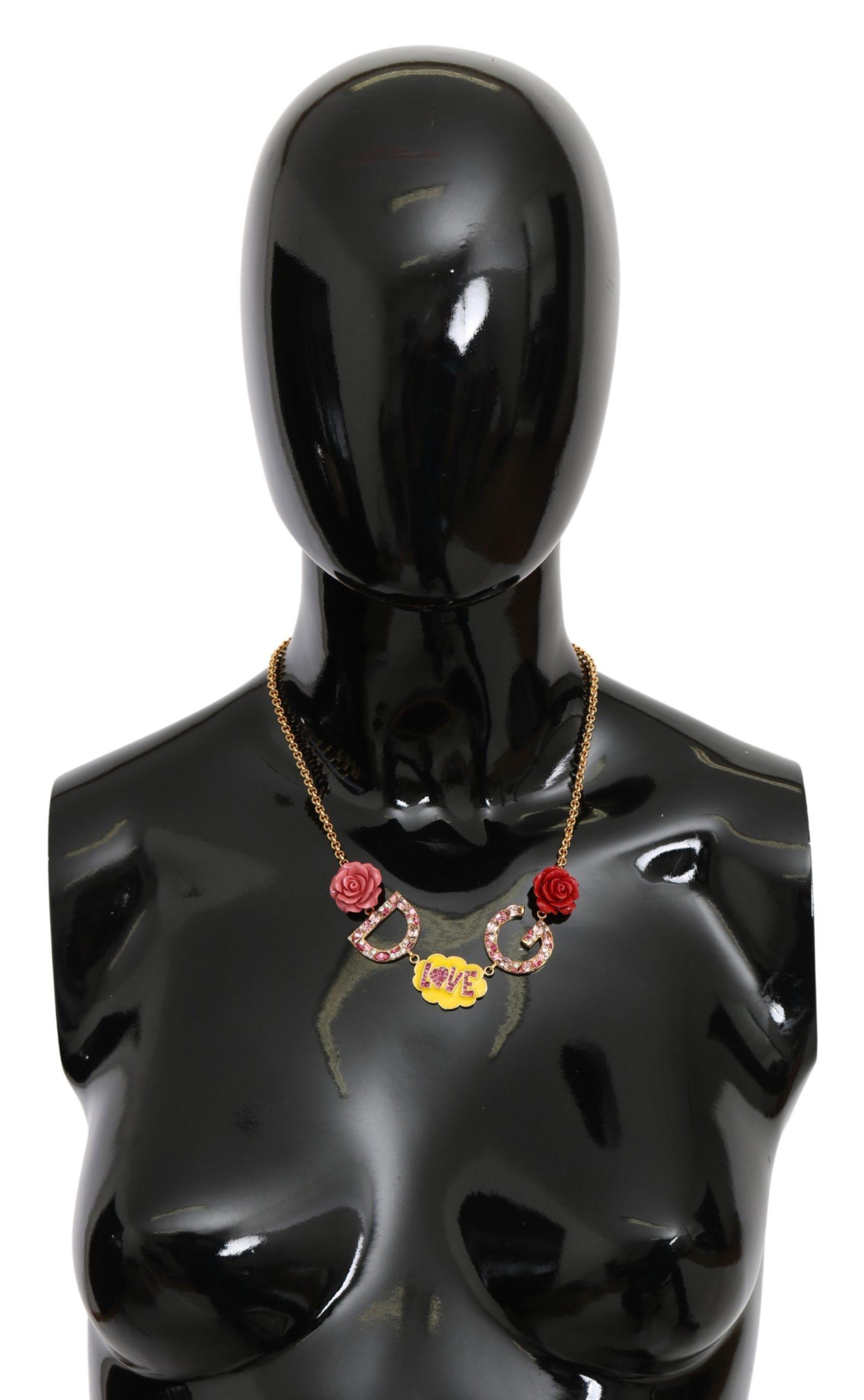 Dolce & Gabbana Women's Rose Love Crystal Charm Necklace Gold SMY7155