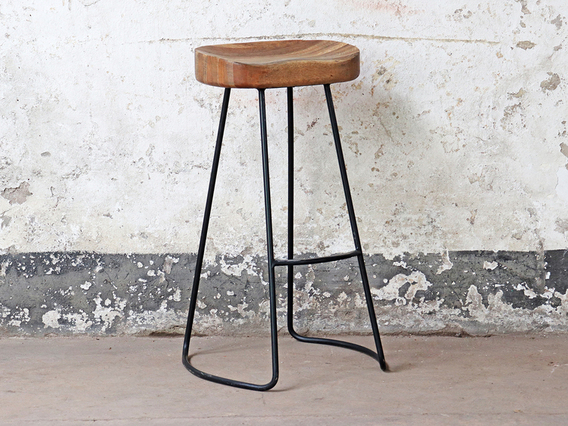 Wooden High Stool Brown