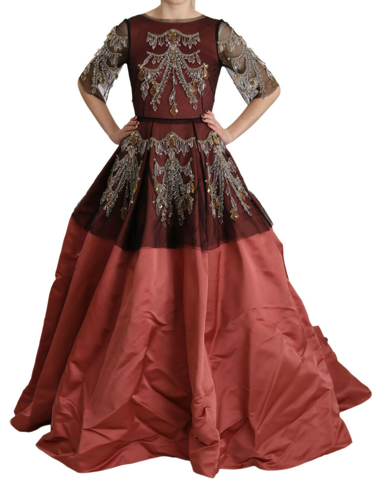 Dolce & Gabbana Women's Crystal Chandelier Silk Princess Gown Dress Pink DR1680 - IT40|S