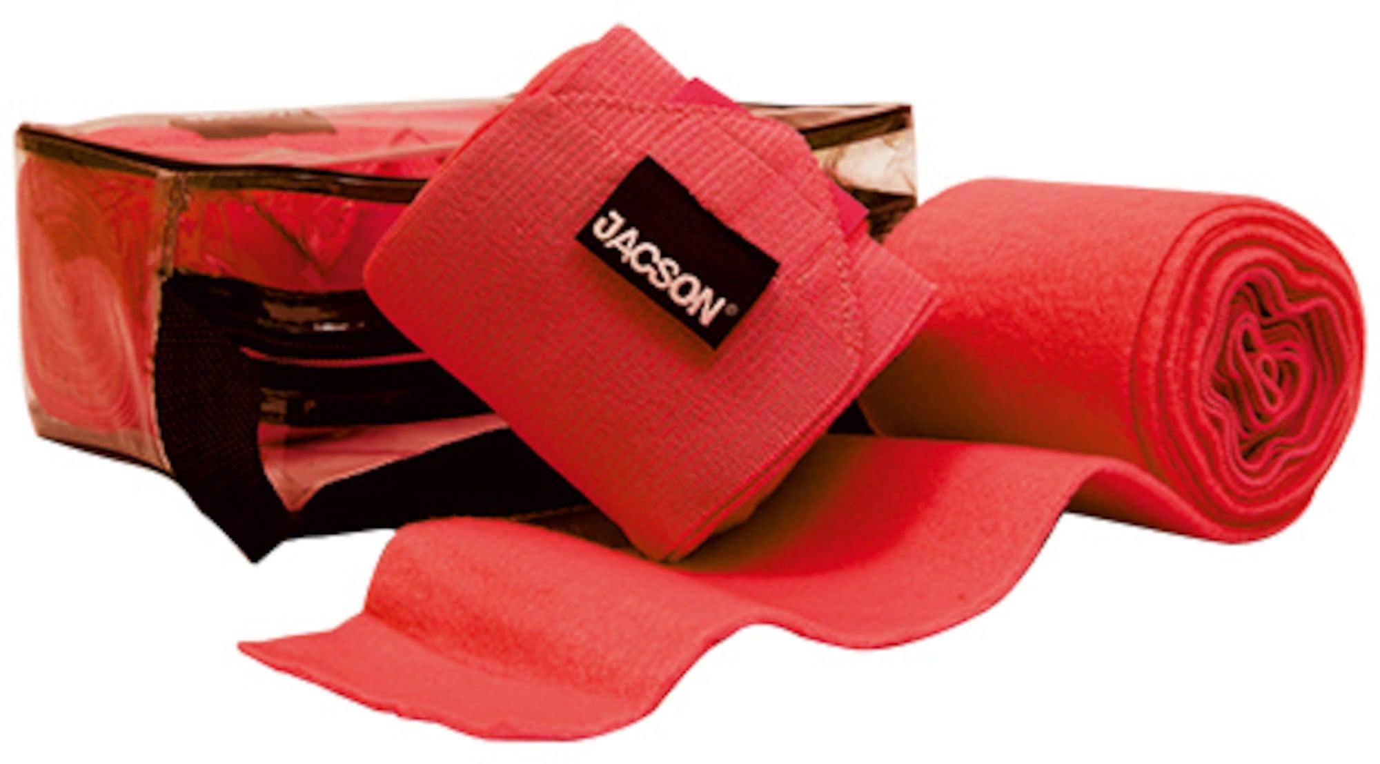 Jacson Ridbandage Fleece och Elastisk Resår 4-Pack, Röd