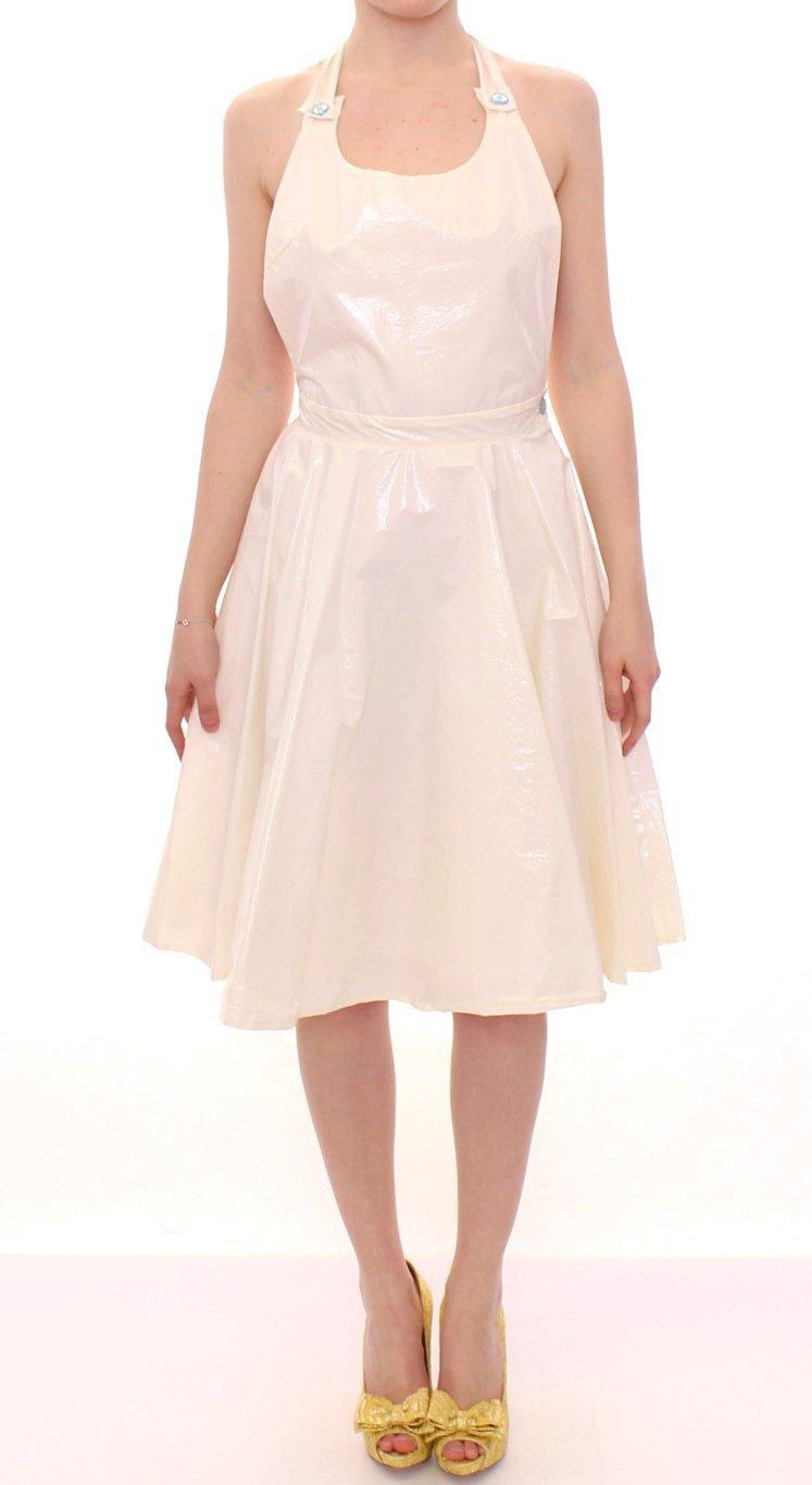 Licia Florio Women's Halterneck Knee Length Tea Dress White MOM10095 - IT44 L