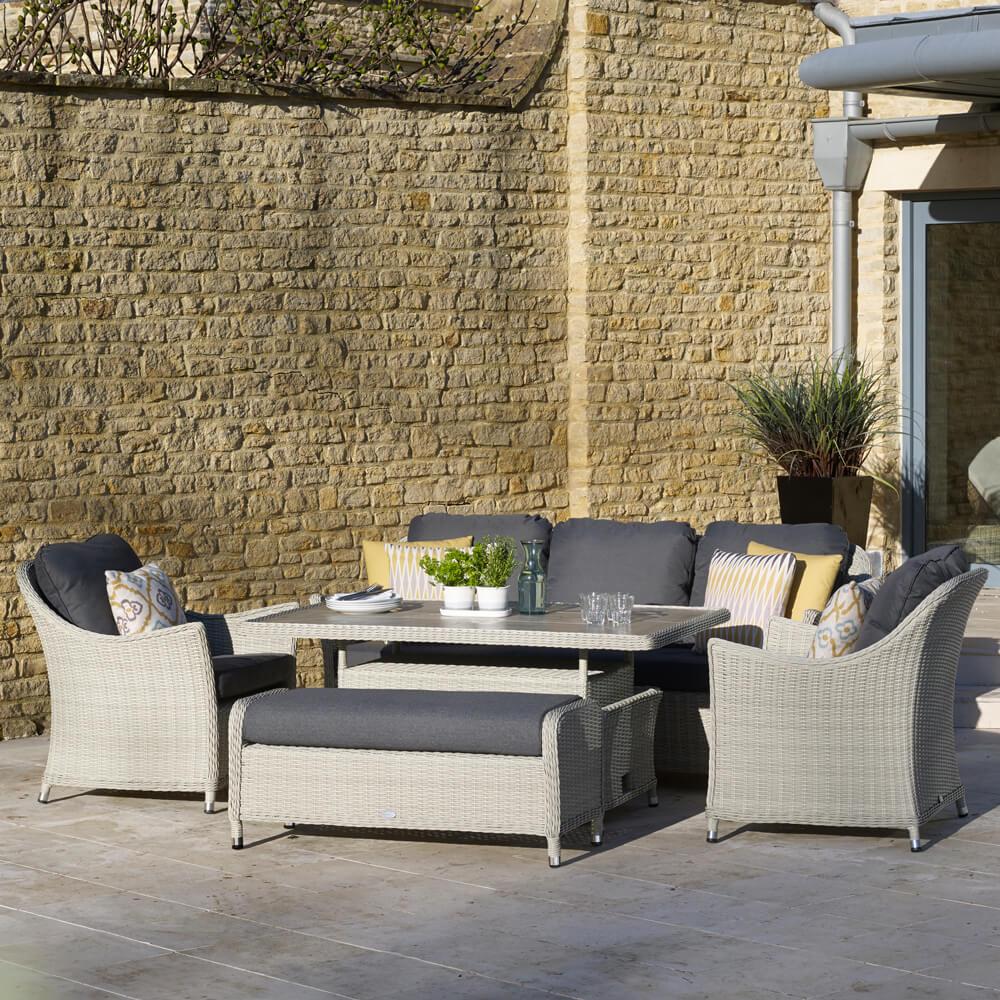 2021 Bramblecrest Monterey 3 Seat Outdoor Sofa Set With Ceramic Dining Table - Dove Grey