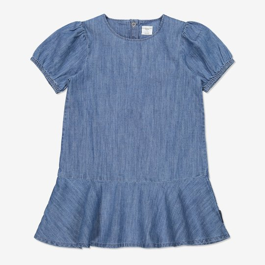 Kjole med pufferm blå denim