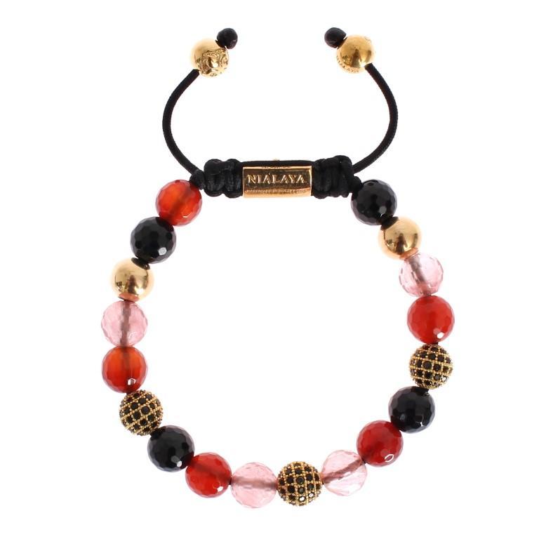 Nialaya Women's CZ Carnelian Agate 14K Gold 925 Bracelet Red NIA20321 - S