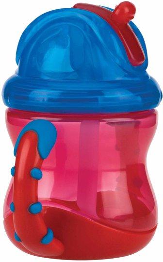 Nûby Drikkeglass med Håndtak og Sugerør, Rød