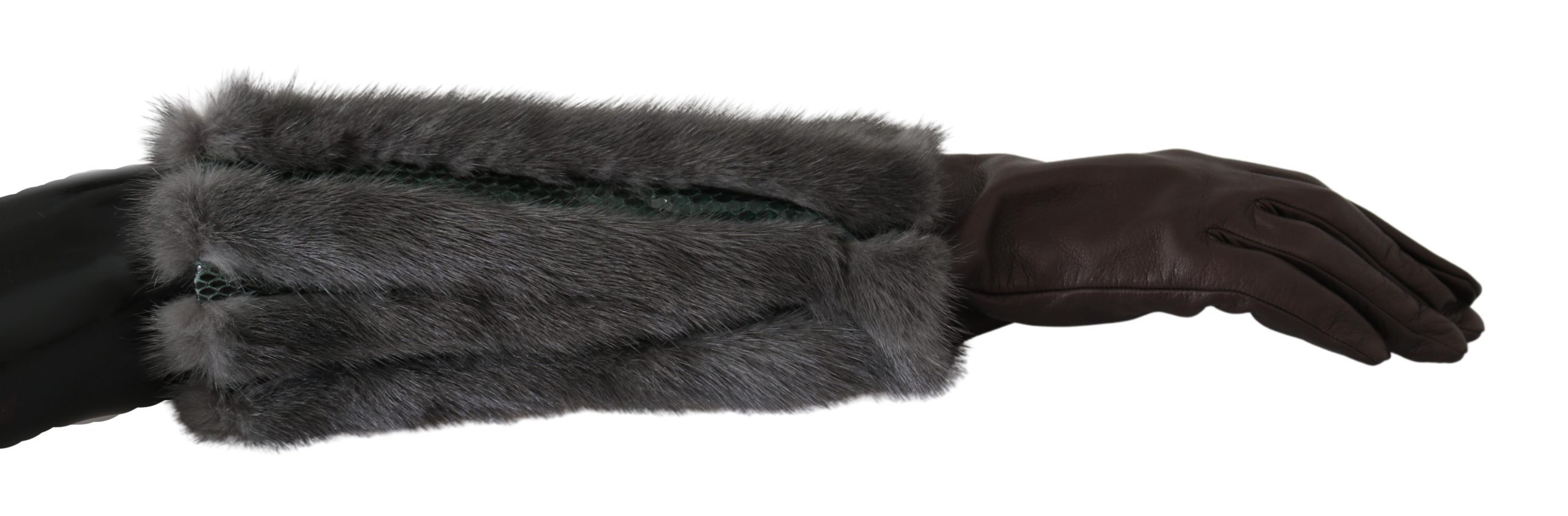 Dolce & Gabbana Women's Mid Arm Length Leather Fur Gloves Brown LB1011 - 7.5|S
