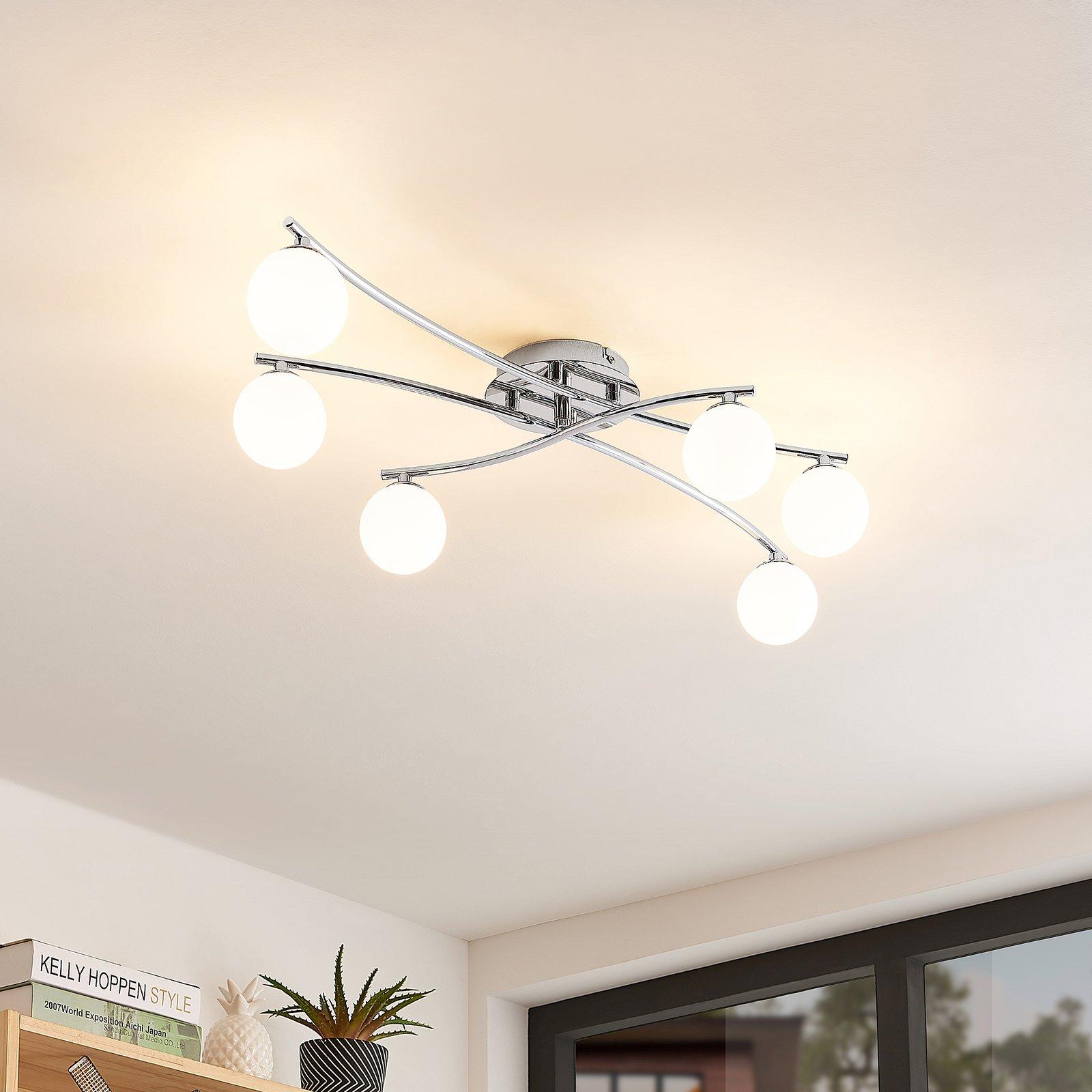 Lindby Chrissy taklampe, 6 lyskilder