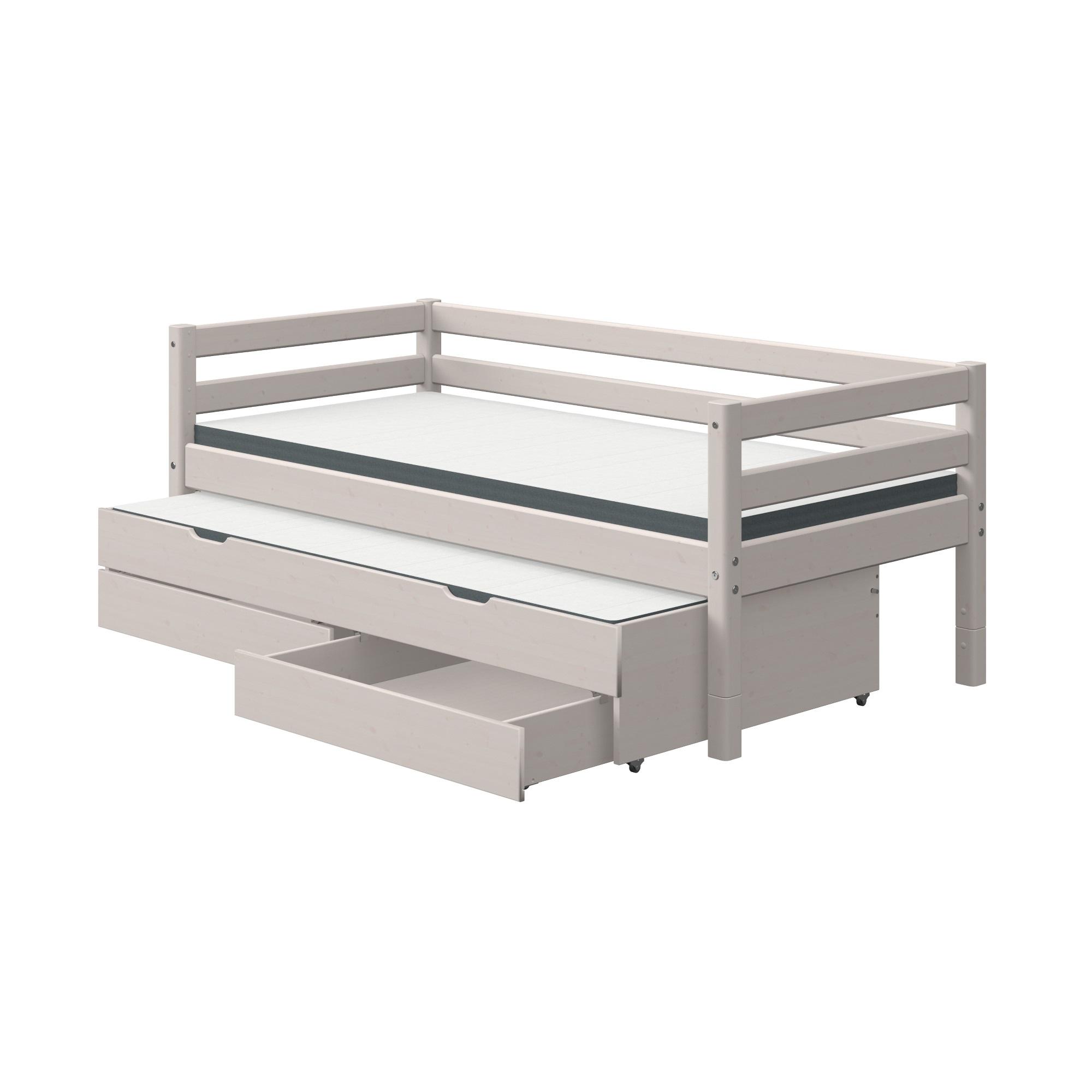 Säng grå 90 x 200 cm sänglådor utdragssäng, FLEXA CLASSIC