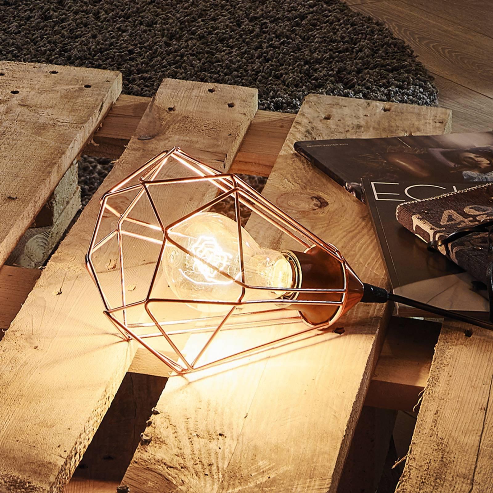 Vintage-bordlampen Tarbes med kobberfinish