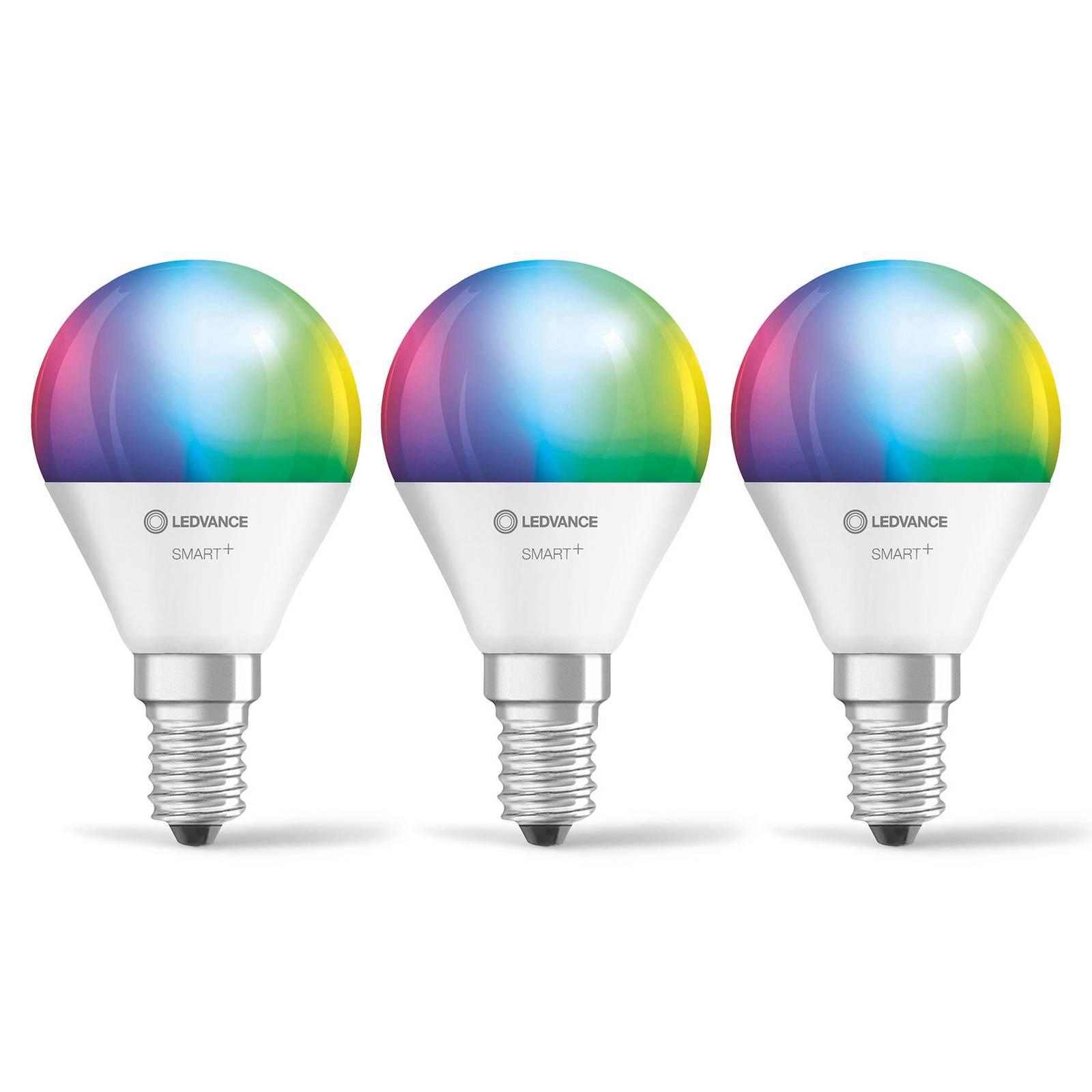 LEDVANCE SMART+ WiFi E14 5W pisara RGBW 3 kpl
