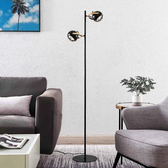 Lindby Dawid -LED-lattiavalo, kultakoristelu