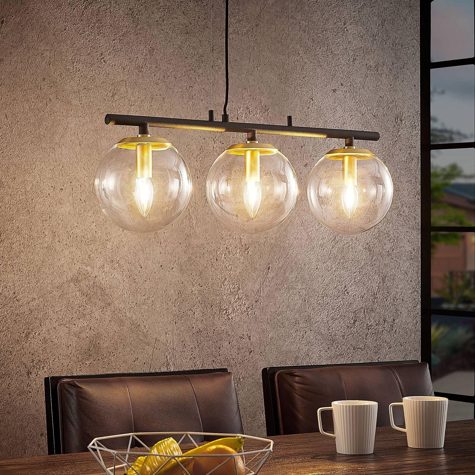 Lucande Sotiana -riippuvalo lasikuulilla, 3-lamp.