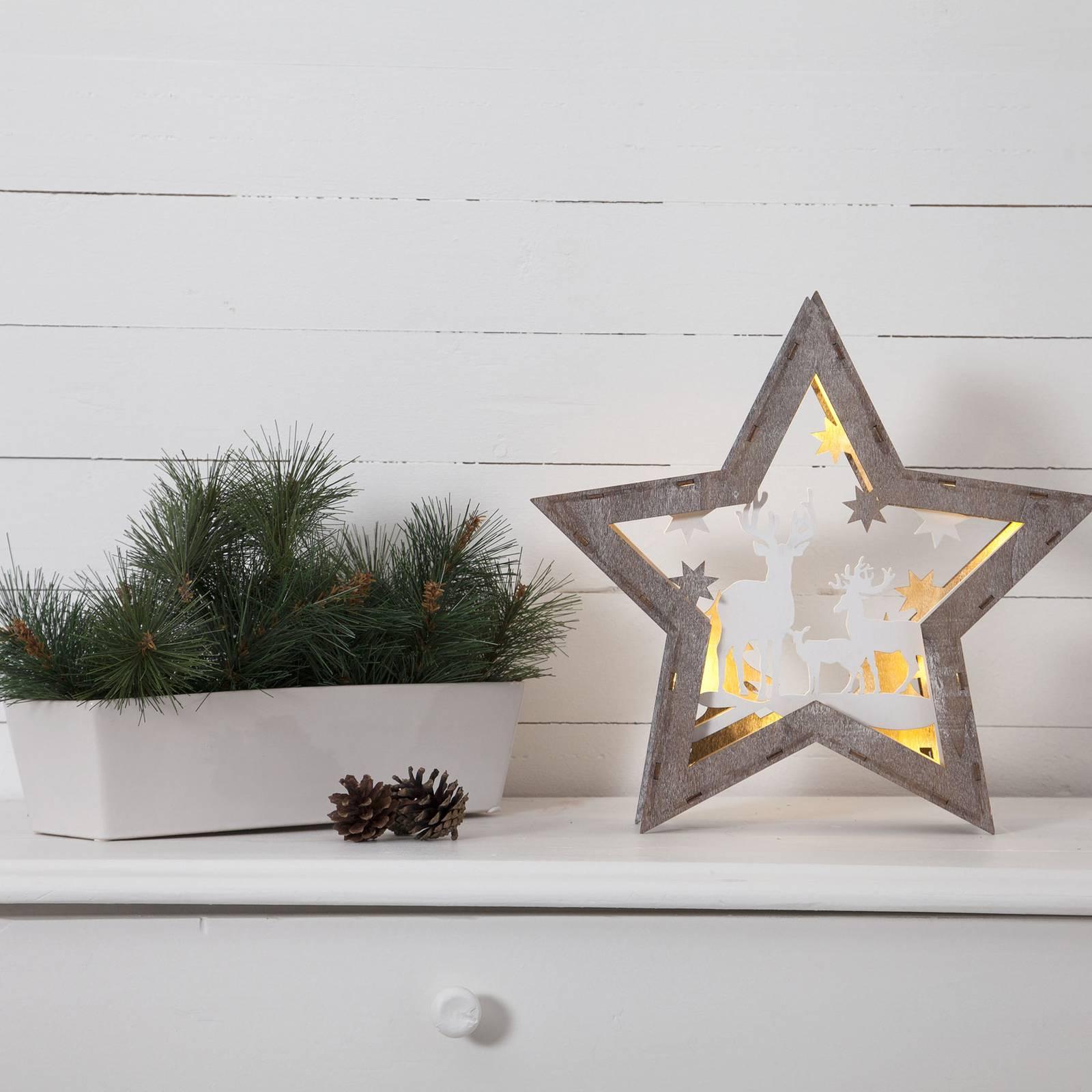 Fauna-LED-koristetähti puuta, korkeus 32 cm