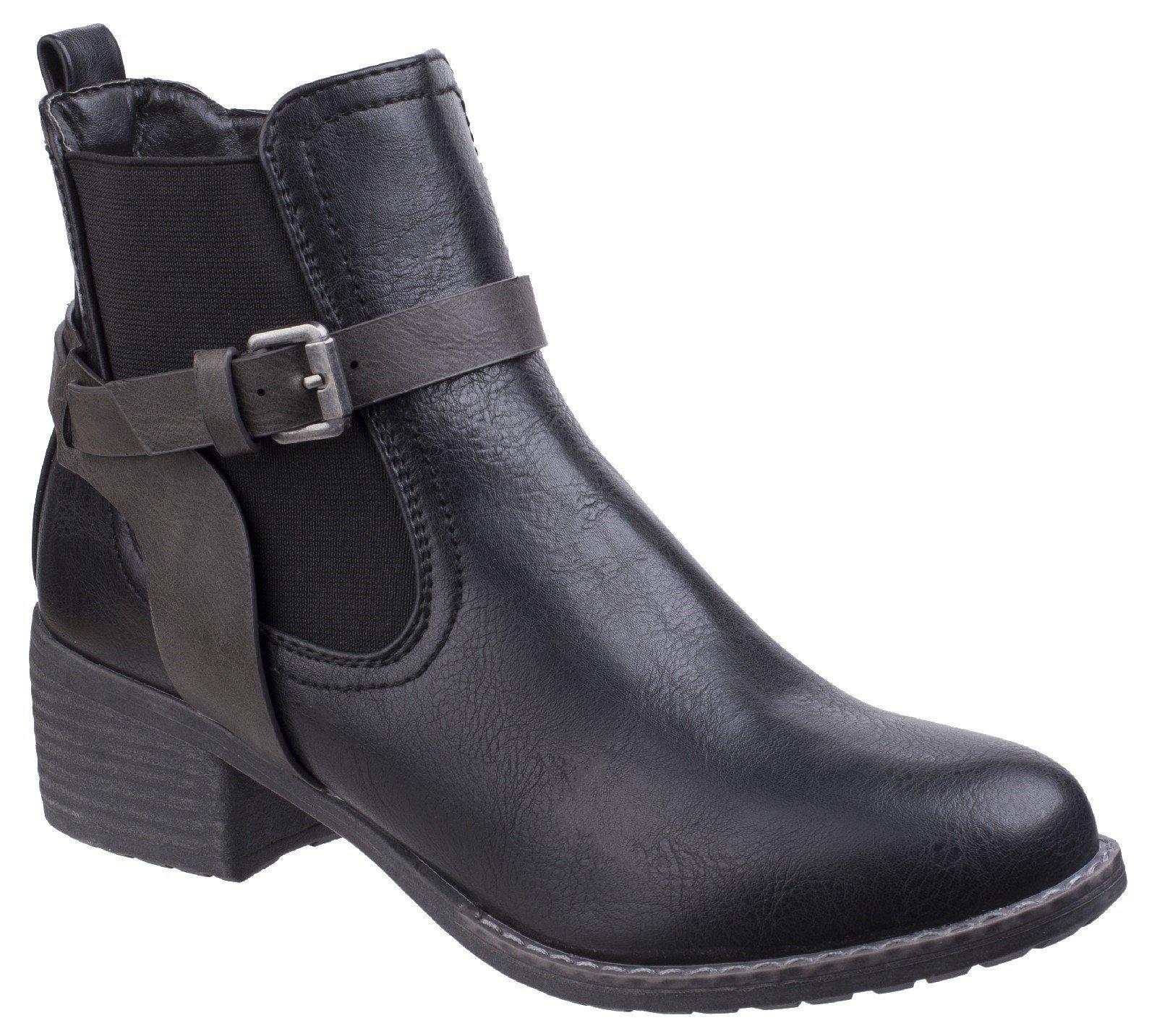 Divaz Women's Ivana Block Heel Ankle Boot Black 25570-42562 - Black 3