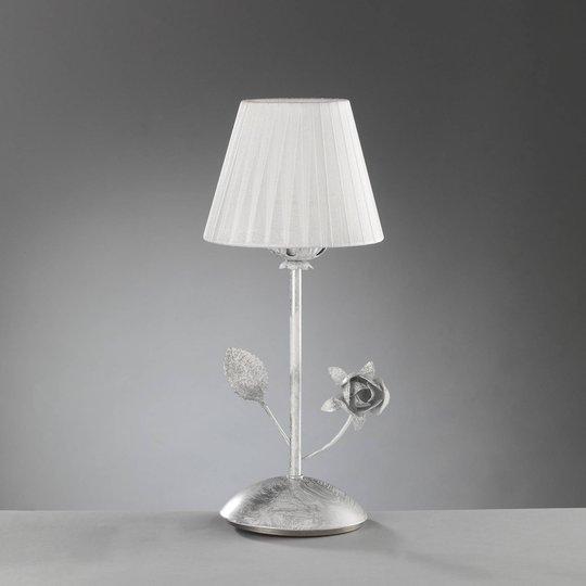 Rose bordlampe med plissé-skjerm i hvitt