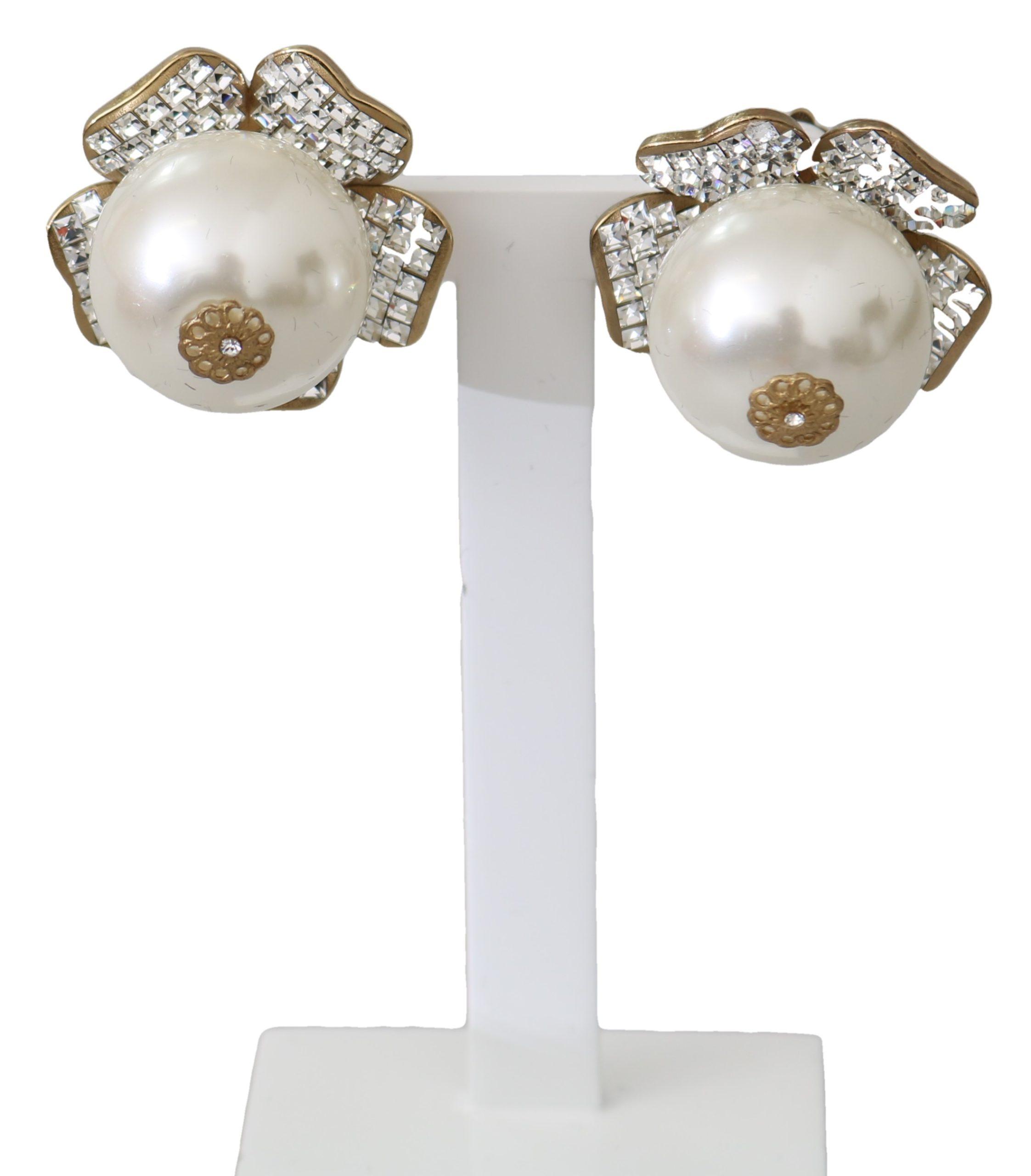 Dolce & Gabbana Women's Brass Crystal Pearl Drop Clip-on Earrings Gold SMY10098