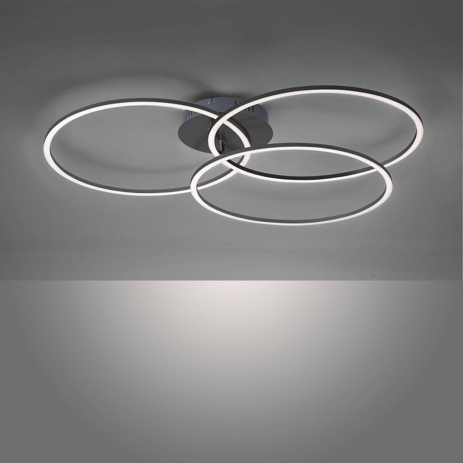 Ivanka LED-taklampe, tre ringer, svart