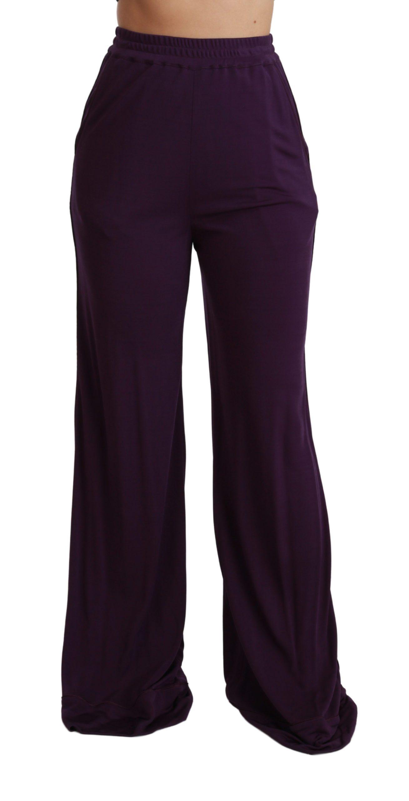 Dolce & Gabbana Women's High Waist Wide Leg Trouser Purple PAN70939 - IT40|S