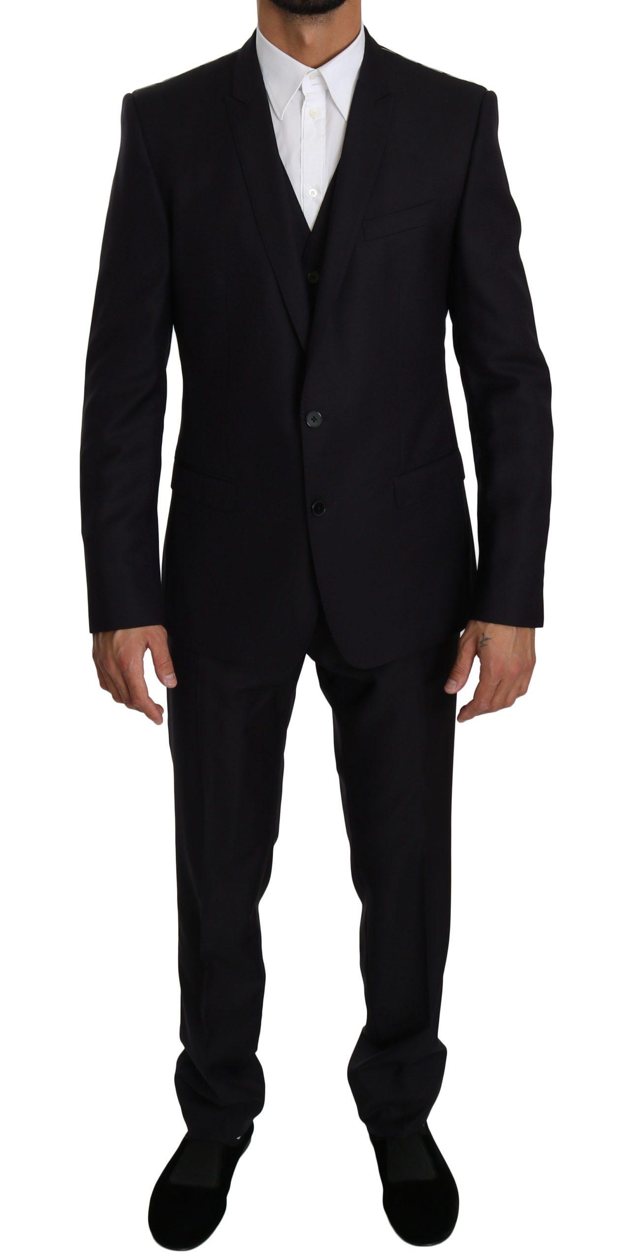 Dolce & Gabbana Men's Slim Fit Wool 3 Piece GOLD Suit Blue KOS1608 - IT50   L