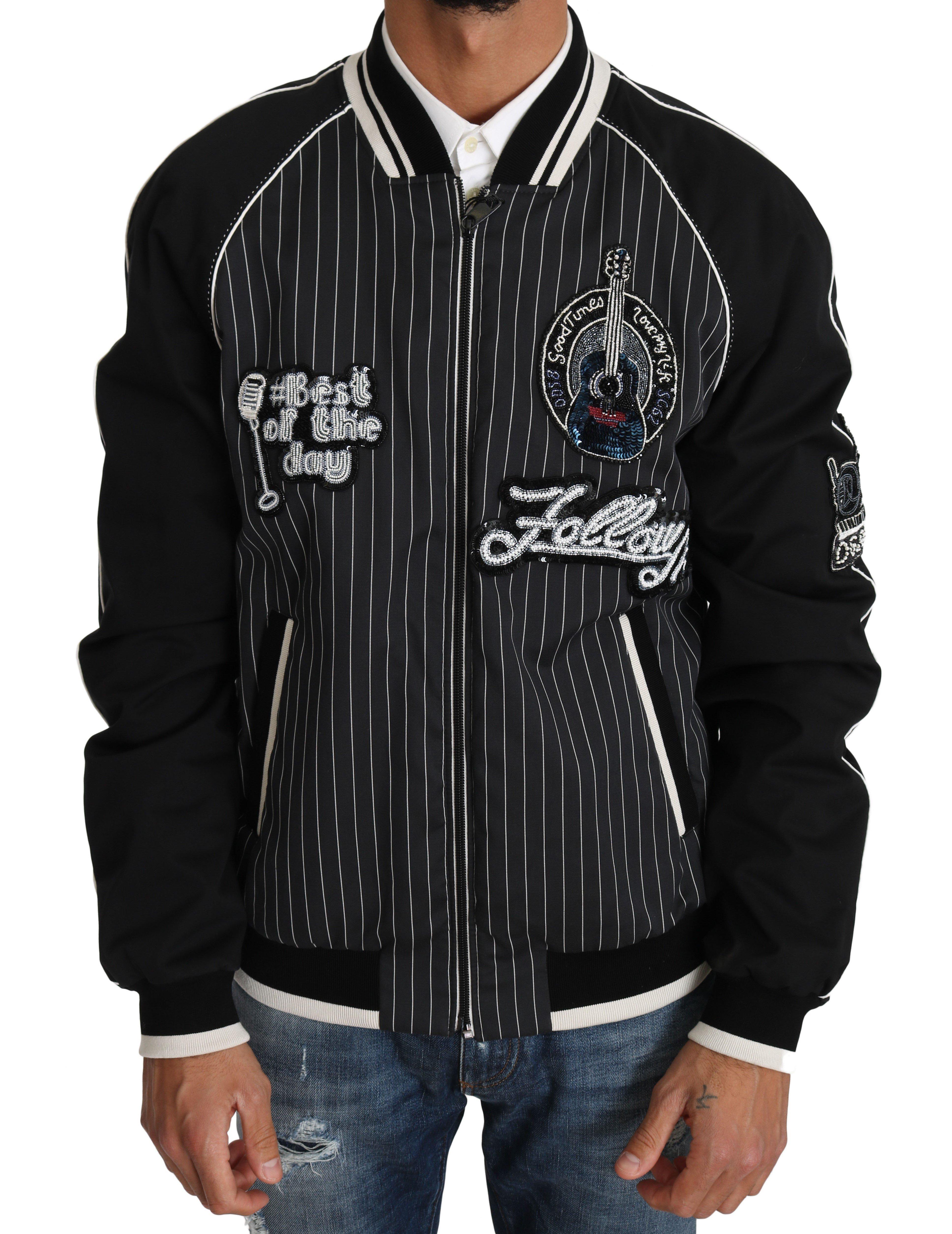 Dolce & Gabbana Men's Sequined Beaded Jacket Black JKT2241 - IT52   XL