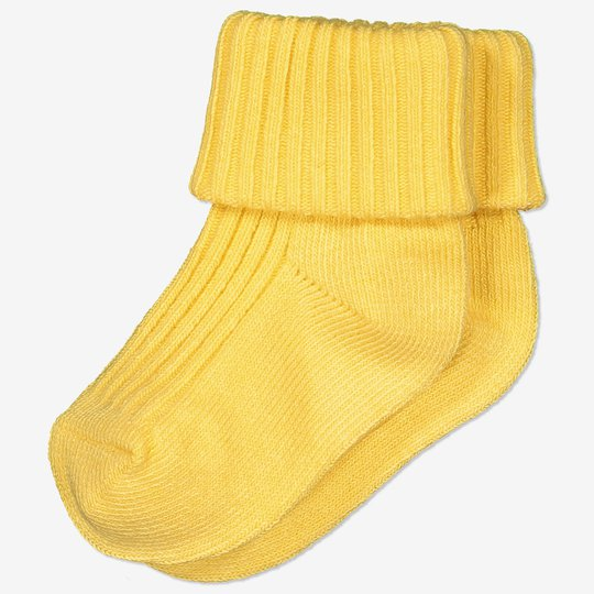 Ensfargede sokker baby gul