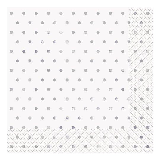 Servetter Silver Polka Dot - 16-pack