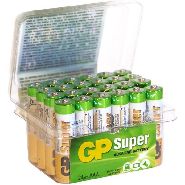 GP Batteries Super Alkaline 24A / LR03 Alkaliske batterier AAA, POWERCASE, 24-pakning