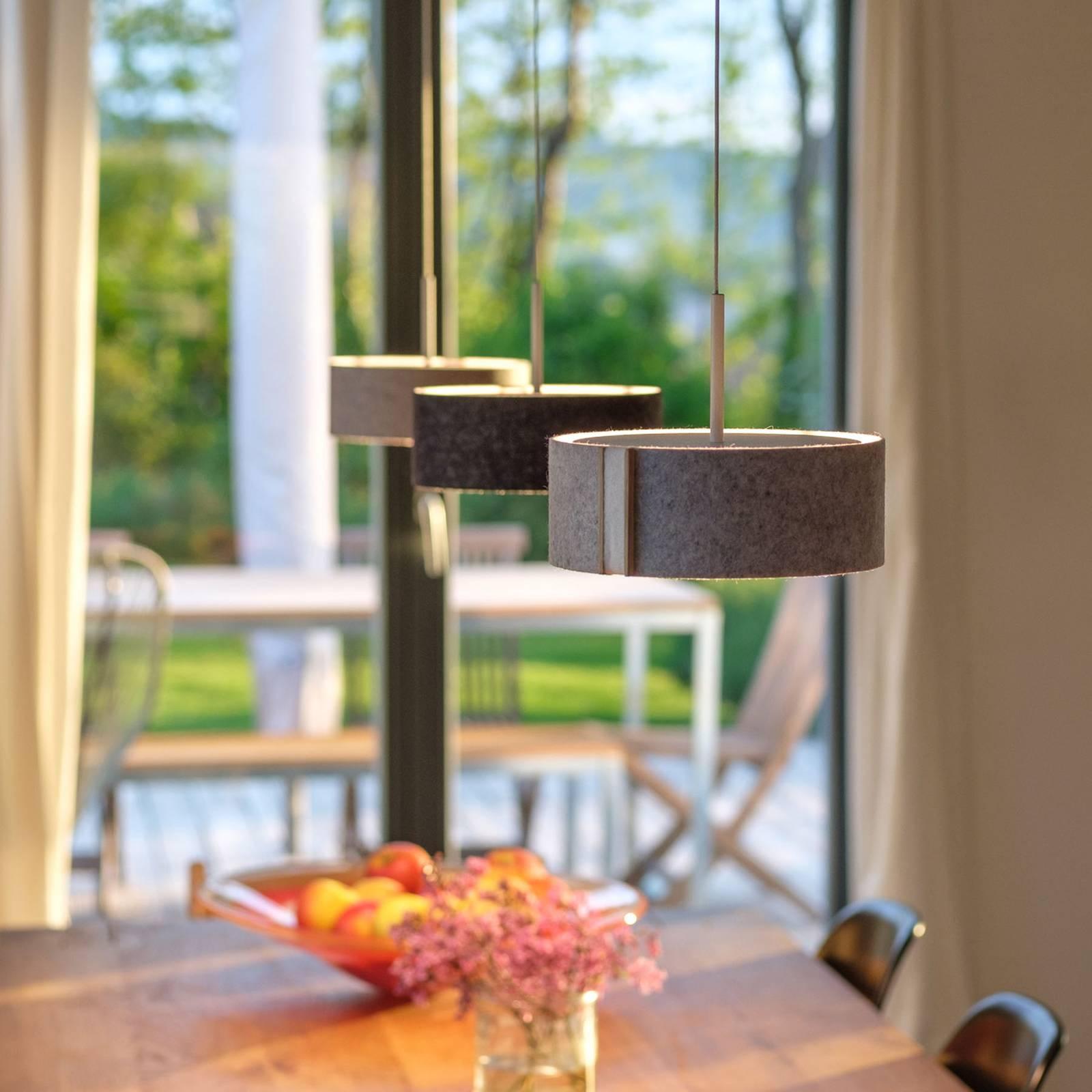 LED-riippuvalaisin LARAfelt S, Ø20 cm harmaa/villa