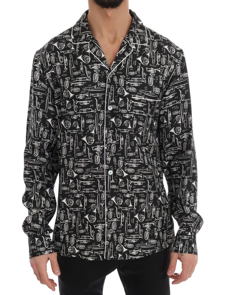 Dolce & Gabbana Men's Silk JAZZ Motive Casual Shirt Multicolor TSH1819 - 42