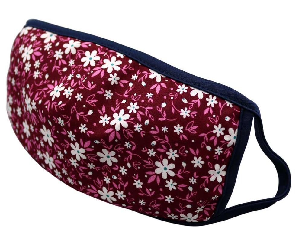 Bomull Ansiktsmask, Hvite blomster og rosa blader, Rosa, flowers and leaves