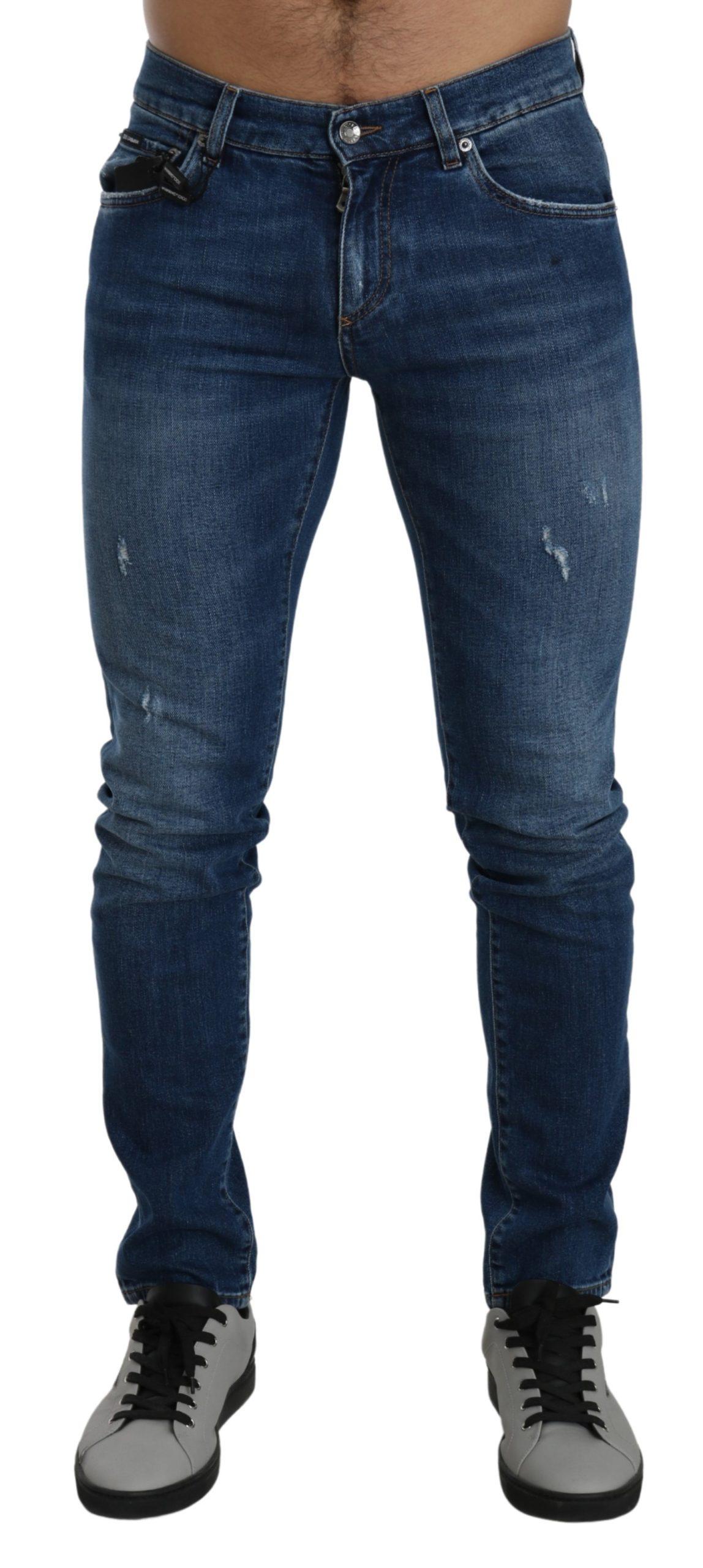 Dolce & Gabbana Men's Denim Logo Stretch Slim Jeans Blue PAN71406 - IT46 | M