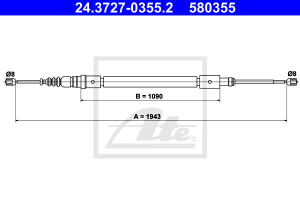 Cable, parking brake ATE 24.3727-0355.2