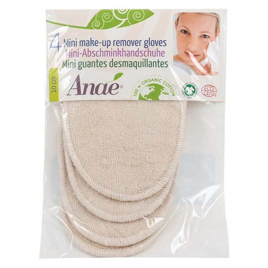 Anaé Ekologiska Sminkborttagningsvantar, 4-pack