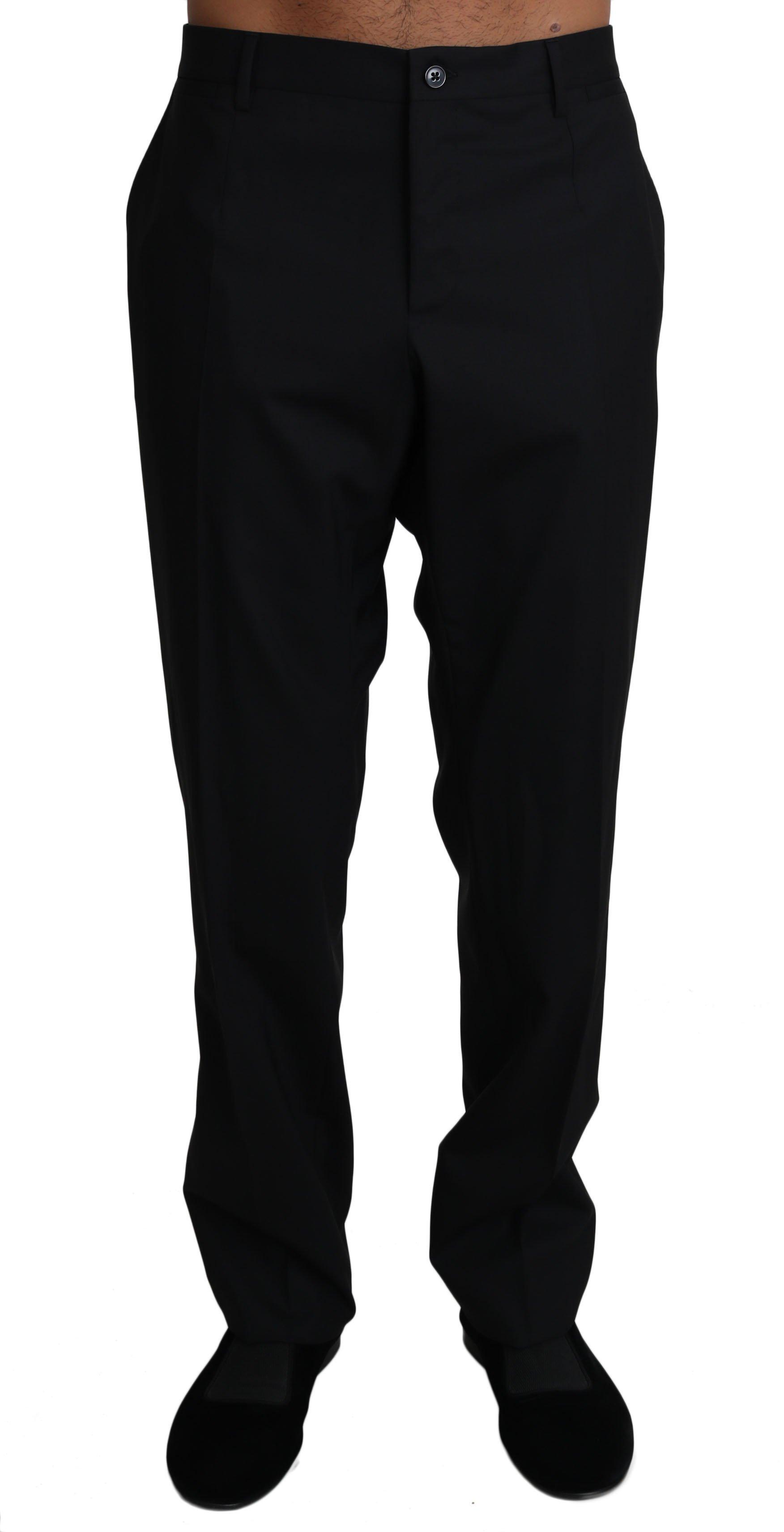 Dolce & Gabbana Men's Wool Stretch Dress Trousers Trouser Black PAN61130 - IT54 | XXL
