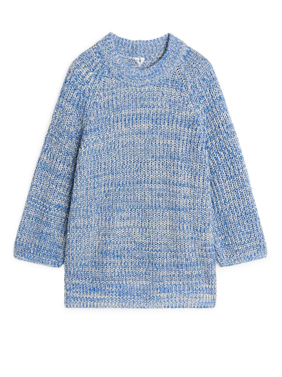 Melange Cotton Knitted Jumper - Blue