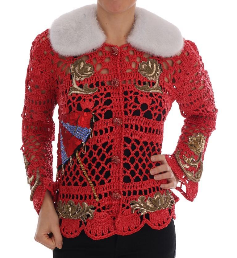 Dolce & Gabbana Women's Fairy Tale Fur Crystal Cardigan Red JKT1114 - IT46 | L