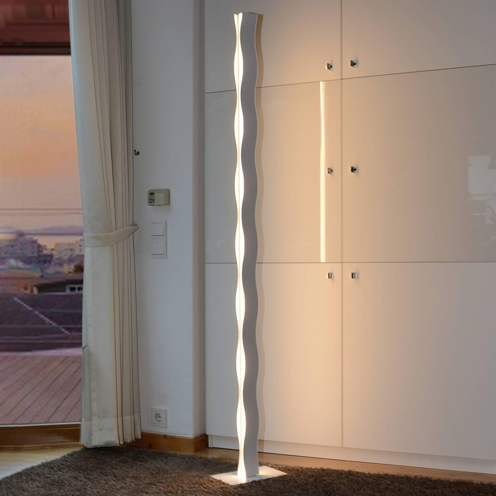 LED-gulvlampe Wave hvit