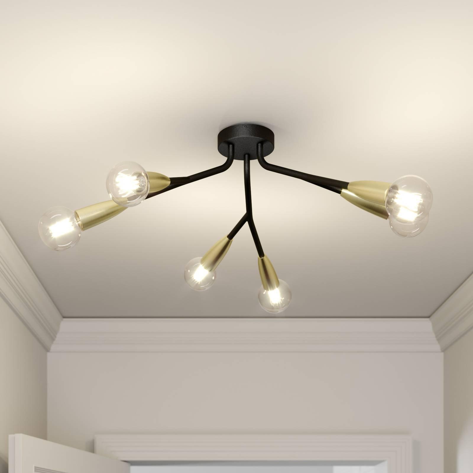 Lucande Carlea taklampe, 6 lysk. svart messing