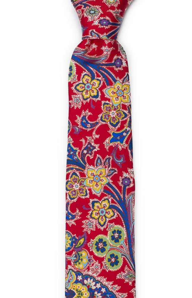 Silke Smale Slips, Surrealistiske flerfargete blomster på rødt, Notch VIVACE Red