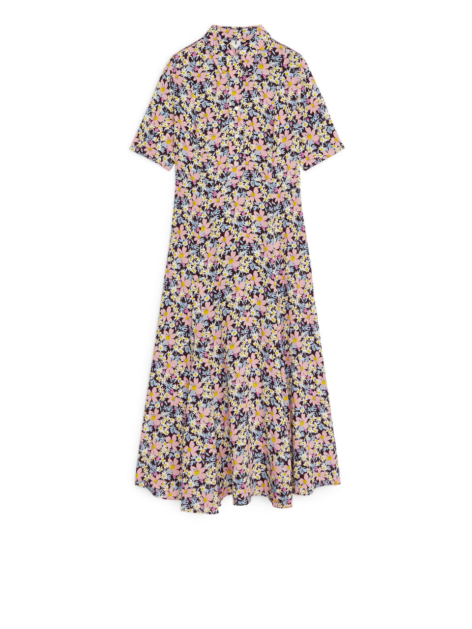 Floral Crêpe Dress - Brown