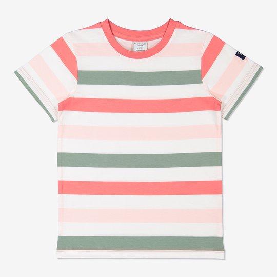 Bredstripet T-skjorte rosa
