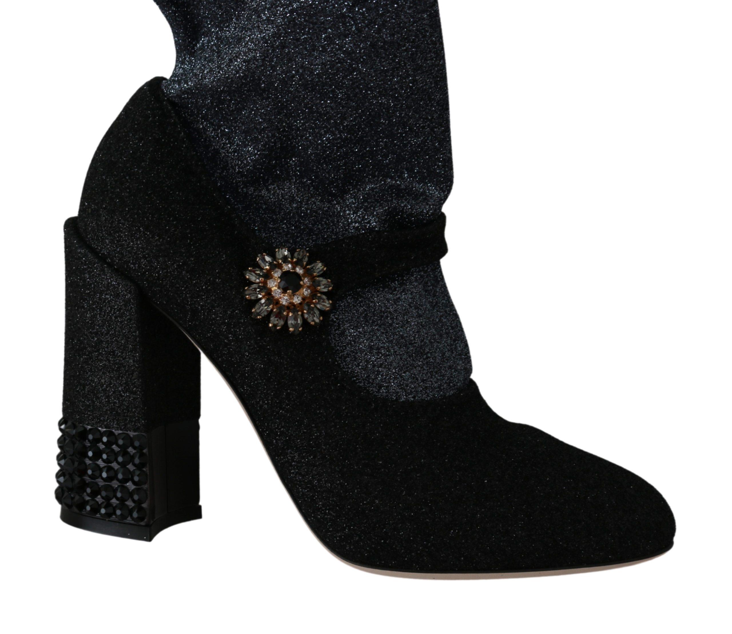Dolce & Gabbana Women's Crystal Mary Janes Booties Black LA6441-37 - EU37/US6.5