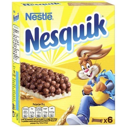 """Välipalapatukat """"Nesquik"""" 6 x 25g - 32% alennus"""