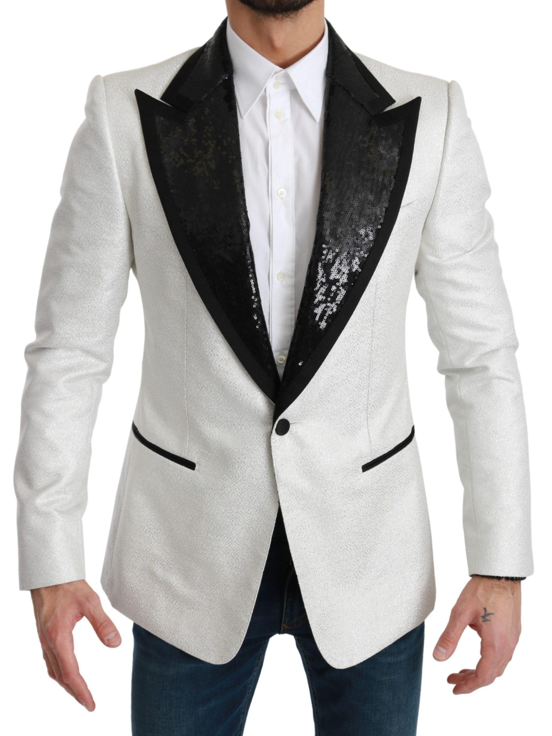 Dolce & Gabbana Men's Sequined Slim Fit Blazer White KOS1786 - IT44   XS