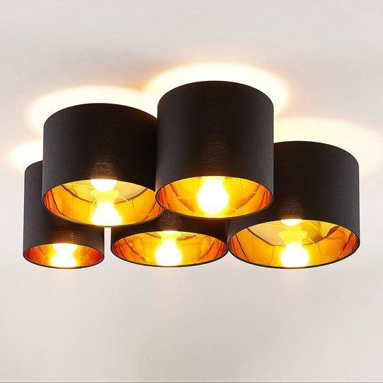 Lindby Laurenz -kattovalaisin 5-lamp., musta-kulta